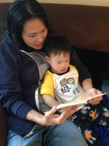 Auntie Kim reading with Micah